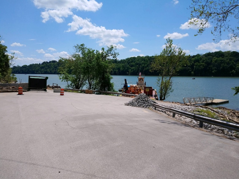 The U.S. Army Corps of Engineers Nashville District announces the temporary closure of the Lakeview Boat Ramp until further notice. The boat ramp area is being used for the Corps of Engineers debris collection program for staging and processing large wood collected from Lake Cumberland and its shoreline. (USACE photo by Cody Pyles)