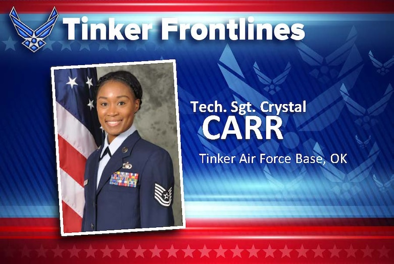 Tech. Sgt. Crystal Carr is the lead for military pay in the 72nd Comptroller Squadron. Originally from Florence, South Carolina, Carr has served in the U.S. Air Force for 12 years. Tinker is her fifth assignment, which includes one deployed to Al Udeid, Quatar, in 2014.