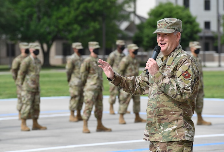 U.S. Air Force Lt. Gen. Brad Webb, commander of Air Education and Training Command, delivers remarks during the basic military training graduation ceremony at Keesler Air Force Base, Mississippi, May 15, 2020. Nearly 60 Airmen from the 37th Training Wing Detachment 5 completed the six-week basic military training course. Due to safety concerns stemming from COVID-19, the Air Force sent new recruits to Keesler to demonstrate a proof of concept to generate the force at multiple locations during contingencies. The flight was the first to graduate BMT at Keesler since 1968. (U.S. Air Force photo by Kemberly Groue)