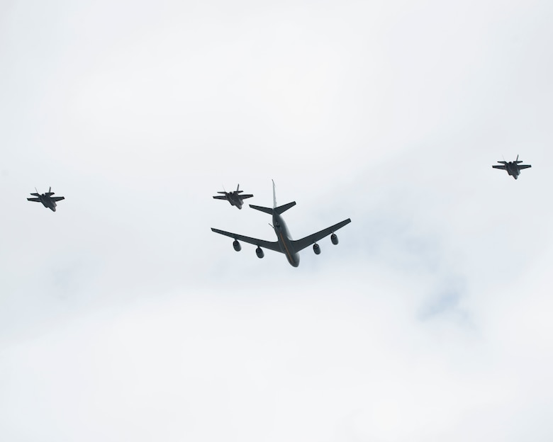 Members assigned to the 158th Fighter Wing, from the Vermont Air National Guard Base, Vt. and 914th Air Refueling Wing, from Niagara Air Reserve Station, Niagara Falls, N.Y. fly over the city of Buffalo, N.Y. on May 12, 2020.  The flyover was part of a Salute WNY exercise to show appreciation for healthcare workers, first responders and essential employees. (U.S. Air National Guard photo by Airman 1st Class Michael Janker)