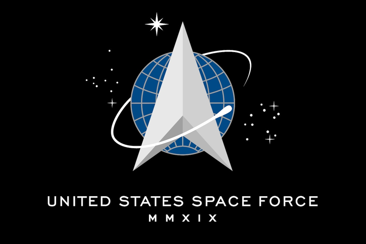"The seal of the United States Space Force, presented on a black field fringed in platinum with the words ""United States Space Force"" and Roman numerals MMXIX (2019) below the seal."