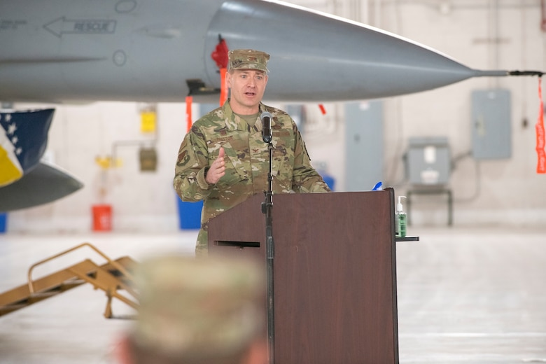 Col. Thomas Preston, 49th Maintenance Group commander, speaks during the 49th MXG Change of Command ceremony, May 15, 2020, on Holloman Air Force Base, N.M. Preston was previously assigned to the U.S. European Command J4 as the operational logistics division chief in Stuttgart, Germany. (U.S. Air Force photo by Staff Sgt. Christine Groening)