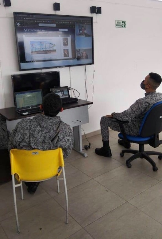 Students from countries across the Americas learn professional military education from IAAFA staff via distance learning during the 2020 Alpha Cycle. (Courtesy Photo)