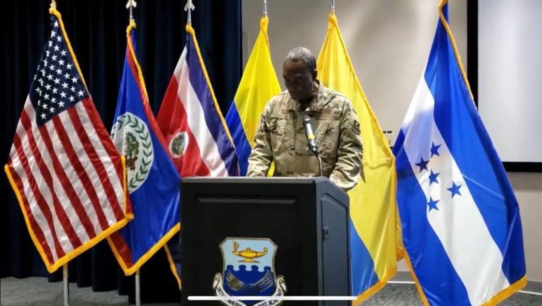 The Inter-American Air Forces Academy commandant, Col. Issac Davidson, celebrates graduates of the 2020 Alpha Cycle during IAAFA's virtual graduation ceremony, May 15. (Courtesy Photo)