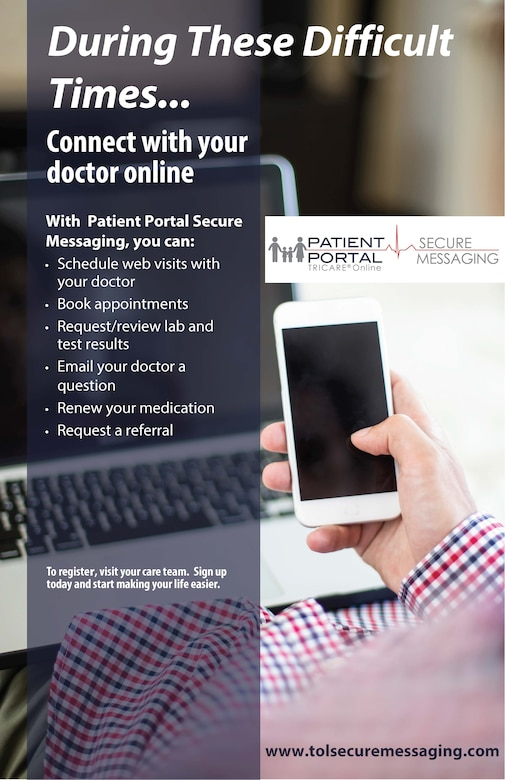 The Air Force Medical Service offers a secure messaging platform for patients and families to communicate safely, securely and conveniently with their Air Force providers. (Courtesy Graphic)