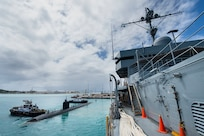 USS Alexandria (SSN 757) prepares to depart Apra Harbor as part of regularly scheduled operations in the Indo-Pacific.