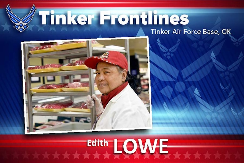 Edith Lowe, a work leader in the meat department at the Tinker Commissary, has worked here for almost 20 years.