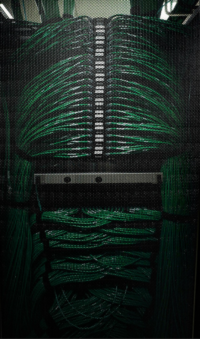 Server wire connections – part of the cyber environment NC Emergency Management, NC Department of Information Technology and the North Carolina National Guard and other agencies battle to protect from malicious cyberattacks on North Carolina's cyber infrastructure.