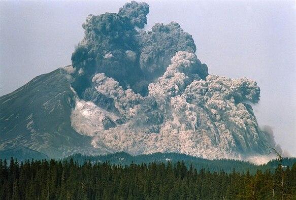 Mount St. Helens erupts, May 18, 1980, Cascade Range, Wash.