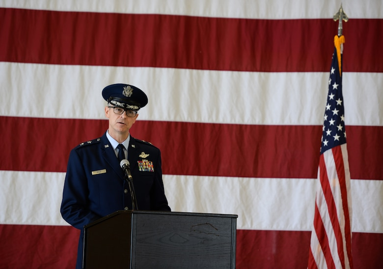 Maj. Gen. Craig Wills, 19th Air Force commander, gives a speech during the 14th Flying Training Wing change of command ceremony May 18, 2020, at Columbus Air Force Base, Miss. Because of the COVID-19 pandemic, there was not an audience at the ceremony. (U.S. Air Force photo by Airman 1st Class Davis Donaldson)