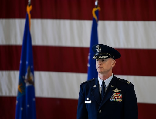 Col. Seth Graham, 14th Flying Training Wing commander, stands at attention during the wing's change of command ceremony May 18, 2020, at Columbus Air Force Base, Miss. Prior to serving as commander, Graham was the 509th Bomb Wing commander at Whiteman AFB, Mo. (U.S. Air Force photo by Airman 1st Class Davis Donaldson)