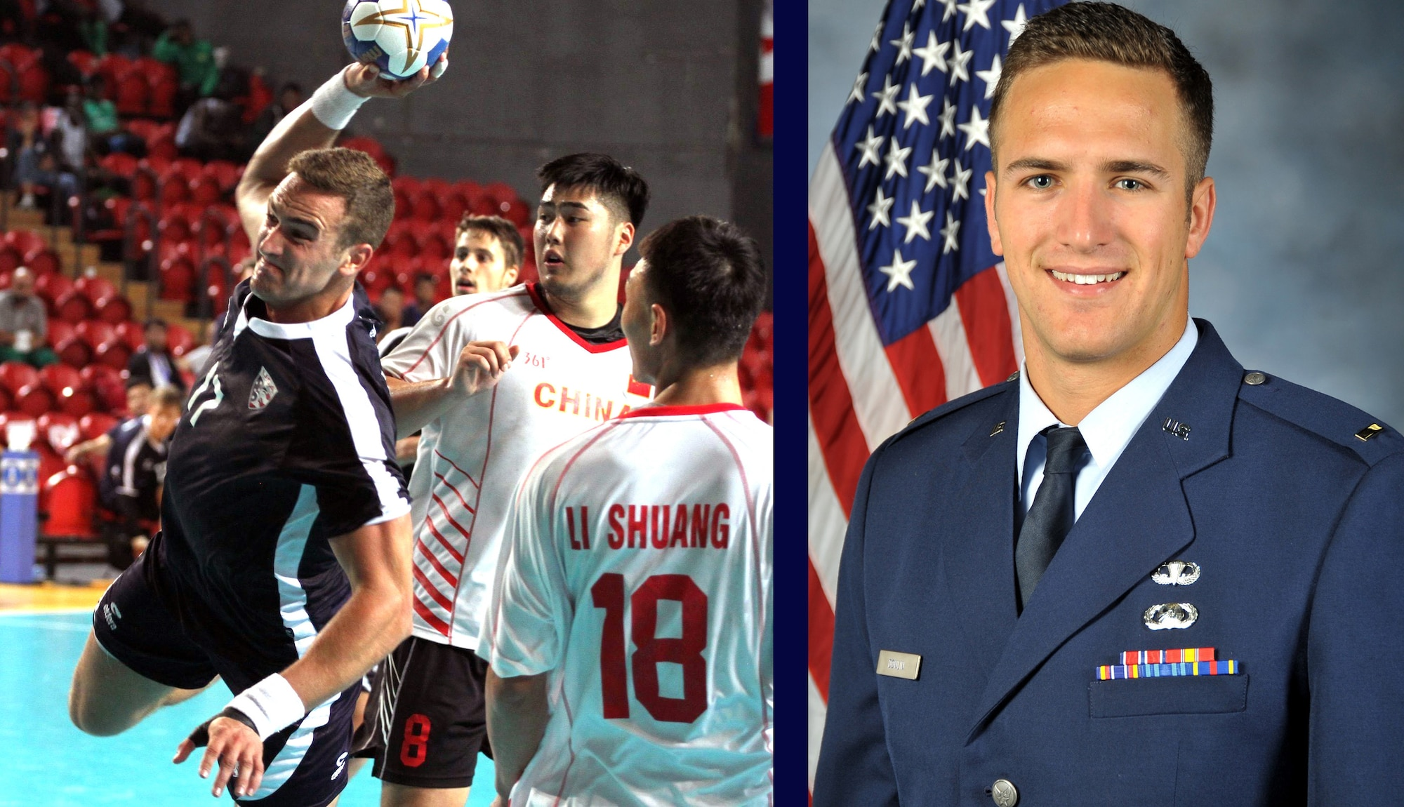 Photo composition of Capt. Andrew Donlin, the Air Force's 2019 Male Athlete of the Year.