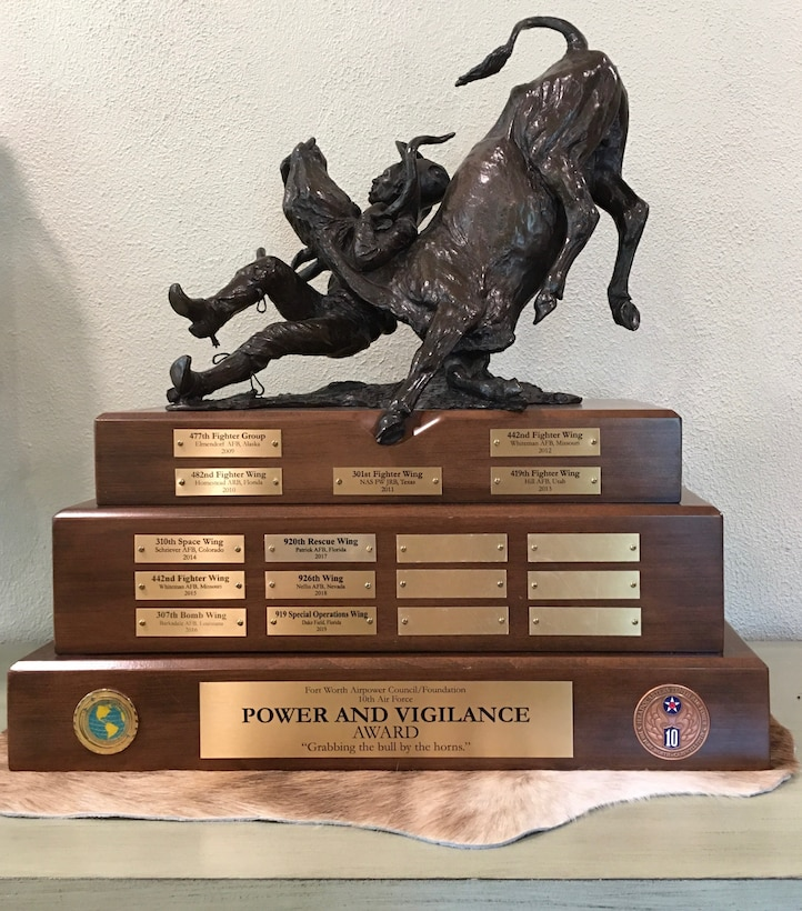 Power and Vigilance trophy sitting on a flat surface