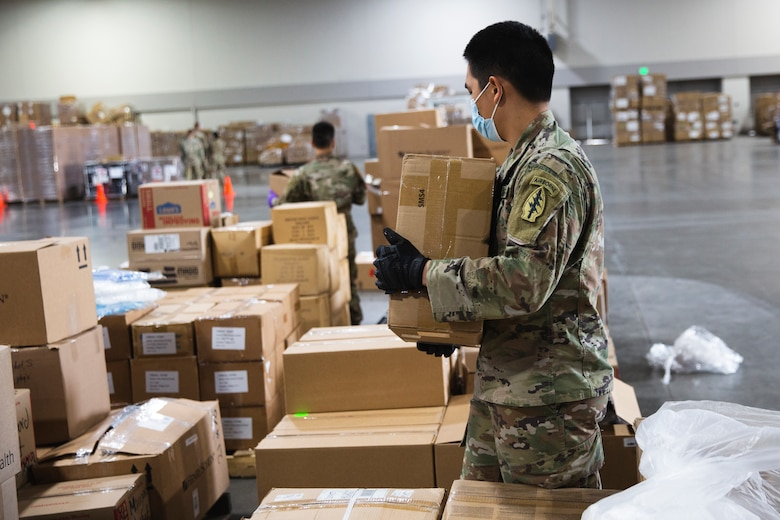 As of May 14, 2020, the Utah National Guard has packaged 487,419 items of PPE, and delivered 45,066 packages to 3,601 businesses across Utah, from an improvised warehouse at the Salt Palace in Salt Lake City, Utah.