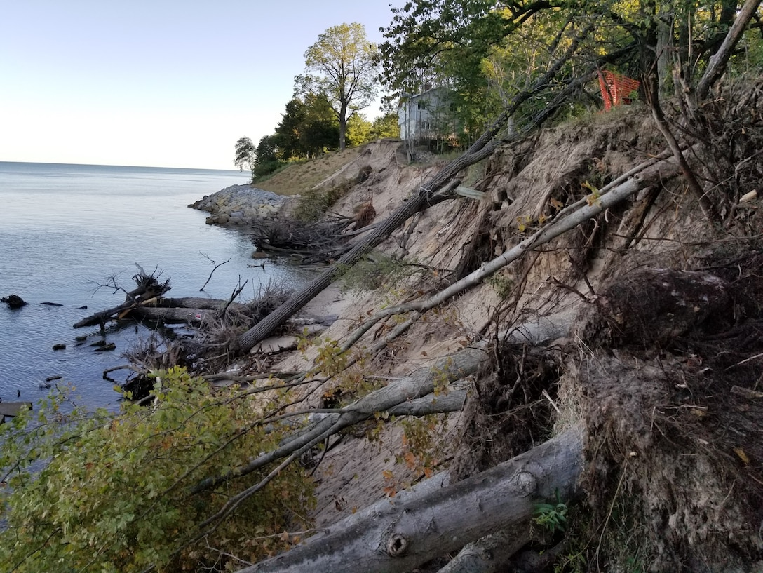 Erosion at Grand Mere Lakes on the southeastern shore of Lake Michigan.