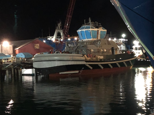 The Navy's first Yard Tug 808-class vessel docks in Anacortes, Washington after being successfully launched by Dakota Creek Industries.