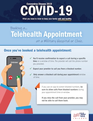 Learn how to book a telehealth appointment at a military treatment facility or clinic. (TRICARE Communications graphic)