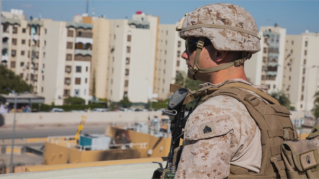 A U.S. Marines with 2nd Battalion, 7th Marines, assigned to the Special Purpose Marine Air-Ground Task Force-Crisis Response-Central Command 19.2, conducts security operations at the Baghdad Embassy Compound in Iraq, Feb. 8th.