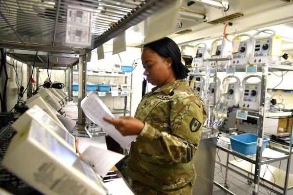 A Soldier from the 28th Combat Support Hospital conducts a joint inventory of medical equipment at Sierra Army Depot in Herlong, California. The inventory was part of a reset leveraging the Medical Materiel Readiness Program.