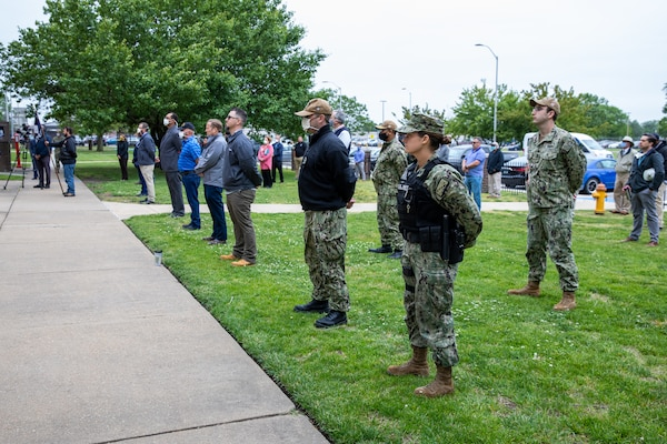 """Norfolk Naval Shipyard employees and Sailors attend the Memorial Day Fall-In for Colors May 19 in remembrance of the service members who sacrificed their lives in service to the United States Armed Forces. In response to COVID-19, precautions were put in place to effectively social distance while still honoring those who are """"Gone, But Never Forgotten."""""""