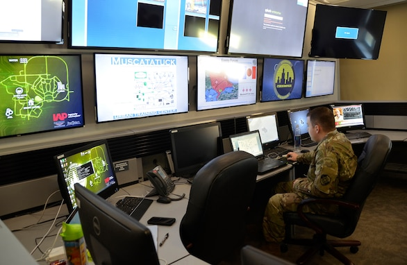 Army Cyber Protection Brigade monitors exercise progress in the white team operations area for exercise Operation Tiger Stance.