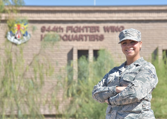 The April 944th Fighter Wing Warrior of the Month is Senior Airman Emily Acker, 944th Aircraft Maintenance Squadron tactical aircraft maintenance specialist.