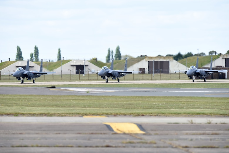 An F-15E Strike Eagle assigned to the 494th Fighter Squadron takes off at Royal Air Force Lakenheath, England, May 14, 2020.  Despite the current COVID-19 crisis, the 48th Fighter Wing continues to maintain mission-readiness in order to safeguard U.S. national interests and those of our allies and partners. (U.S. Air Force photo by Airman 1st Class Rhonda Smith)