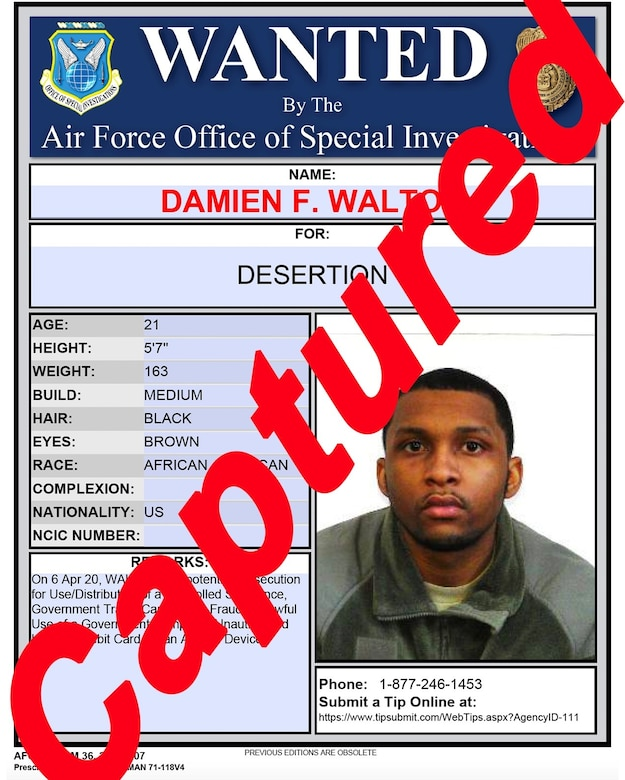 The joint policing effort among Office of Special Investigations Special Agents from Detachments in Alaska and New Jersey, coupled with local law enforcement, captured Airman Basic Damien F. Walton May 8, 2020, who deserted authorities after committing various crimes. (OSI graphic)