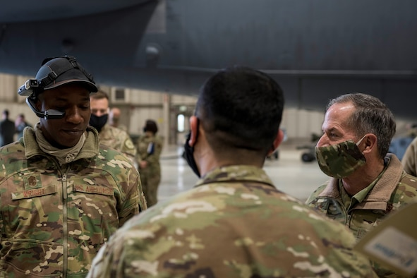 Air Force Chief of Staff Gen. David L. Goldfein and Chief Master Sgt. of the Air Force Kaleth O. Wright learn about new innovations being made at Minot Air Force Base, North Dakota, May 14, 2020. Airmen at Team Minot, in the midst of a global pandemic, demonstrate the ever adapting ability of the Global Strikers to CSAF General Goldfein and CMSAF Wright during their visit to Minot Air Force Base.  (U.S. Air Force photo by Airman 1st Class Jesse Jenny)