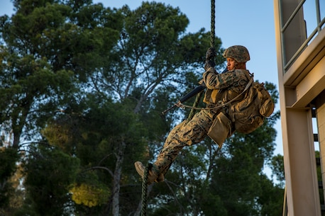 Fast-rope training enables the BLT to conduct hasty insertions directly onto their objective, improving their ability to conduct various missions, such as conducting expeditionary strikes, raids or embassy reinforcement.