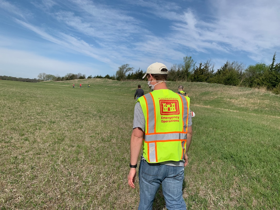 The Omaha District dam safety team performs an inspection May 1, at  Salt Creek Site 2, Olive Creek Dam, Neb., to check for erosion and if the outlet channel in satisfactory condition. This was the first inspection the team has performed since the COVID-19 pandemic began.