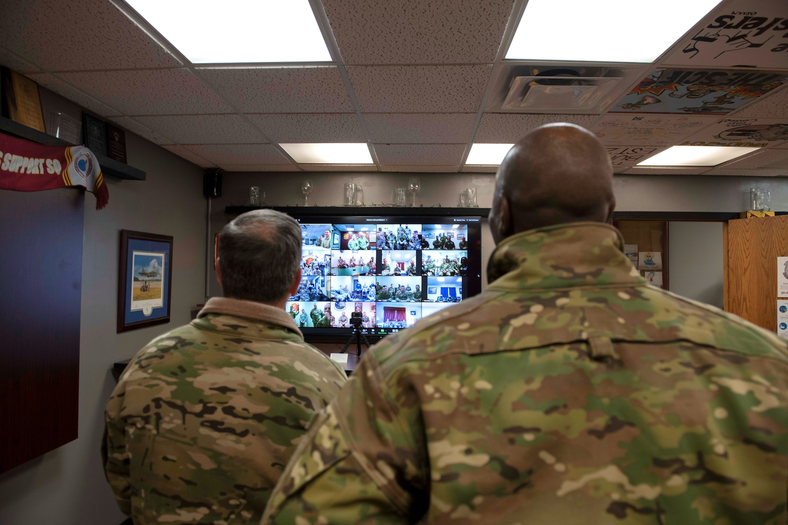 Air Force Chief of Staff Gen. David L. Goldfein and Chief Master Sgt. of the Air Force Kaleth O. Wright participate in a Zoom meeting in the 91st Missile Wing at Minot Air Force Base, North Dakota, May 14, 2020. Air Force Chief of Staff Gen. David L. Goldfein and Chief Master Sgt. of the Air Force Kaleth O. Wright's visit centered around the efforts of Team Minot to combat the COVID-19 pandemic and successfully execute the Global Striker mission.  (U.S. Air Force photo by Airman 1st Class Jesse Jenny)