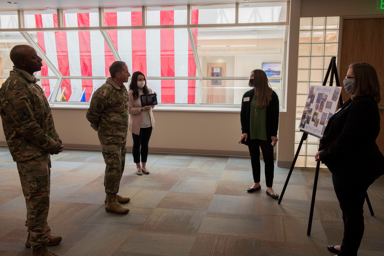Air Force Chief of Staff Gen. David L. Goldfein and Chief Master Sgt. of the Air Force Kaleth O. Wright receive briefings from key spouses at Minot Air Force Base, North Dakota, May 14, 2020. Air Force Chief of Staff Gen. David L. Goldfein and Chief Master Sgt. of the Air Force Kaleth O. Wright's visit centered around the efforts of Team Minot to combat the COVID-19 pandemic and successfully execute the Global Striker mission.  (U.S. Air Force photo by Airman 1st Class Jesse Jenny)