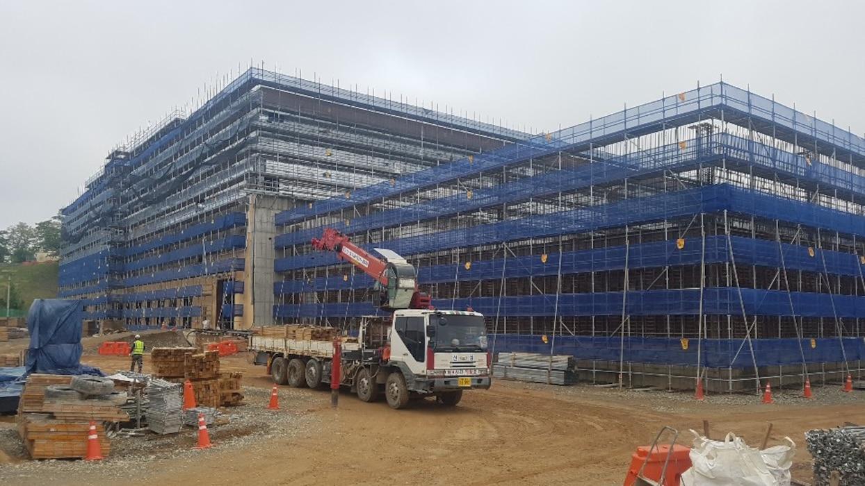The Defense Logistics Agency (DLA) warehouse construction project, Camp Carroll, South Korea. (FED File photo)