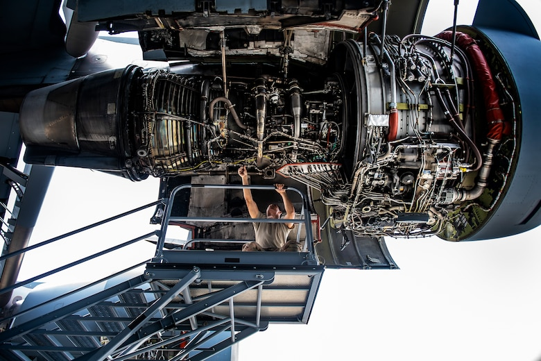 Staff Sgt. Andre Rivera, 911th Maintenance Squadron jet propulsion technician, inspects a C-17 Globemaster III engine during a home station check inspection at the Pittsburgh International Airport Air Reserve Station, Pennsylvania, May 18, 2020.