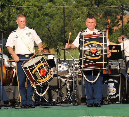 Soldiers from the 215th Army Band of the Massachusetts National Guard perform for a delighted crowd at Veterans Memorial Stadium in Quincy June 10, 2019, as part of their yearly Summer Concert Series.