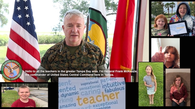 U.S. Marine Corps Gen. Kenneth F. McKenzie Jr., commander, U.S. Central Command, and military children thank teachers as the 2020 school year comes to a close.