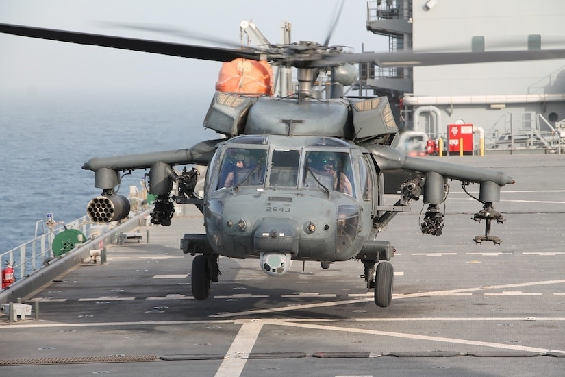 SOUTHERN ARABIAN GULF (May 11, 2020) A UH-60M helicopter attached to the United Arab Emirates (UAE) Joint Aviation Command (JAC) lands aboard the expeditionary sea base USS Lewis B. Puller (ESB 3). Lewis B. Puller is deployed to the U.S. 5th Fleet area of operations in support of naval operations to ensure maritime stability and security in the Central Region, connecting the Mediterranean and Pacific through the Western Indian Ocean and three strategic choke points. (U.S. Navy photo by Chief Logistics Specialist Thomas Joyce)
