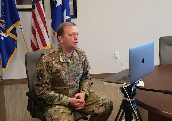 Lt. Gen. Richard Scobee conducts a FaceBook Live town hall meeting from his office to stay in touch with Reserve Citizen Airmen during this time of physical distancing. (Lt. Col. Jon Quinlan)