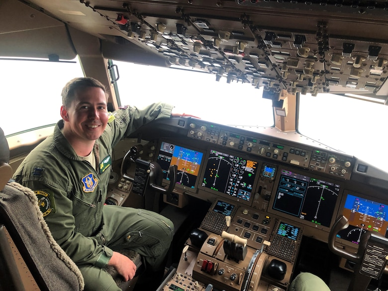 "In the midst of the COVID-19 pandemic, the 916th Air Refueling Wing, Seymour Johnson Air Force Base, North Carolina, continued to transition from the KC-135 to the KC-46. Capt. Joseph ""Mike"" Orzeck is one of the first pilots to complete training on the new aircraft. (courtesy photo)"