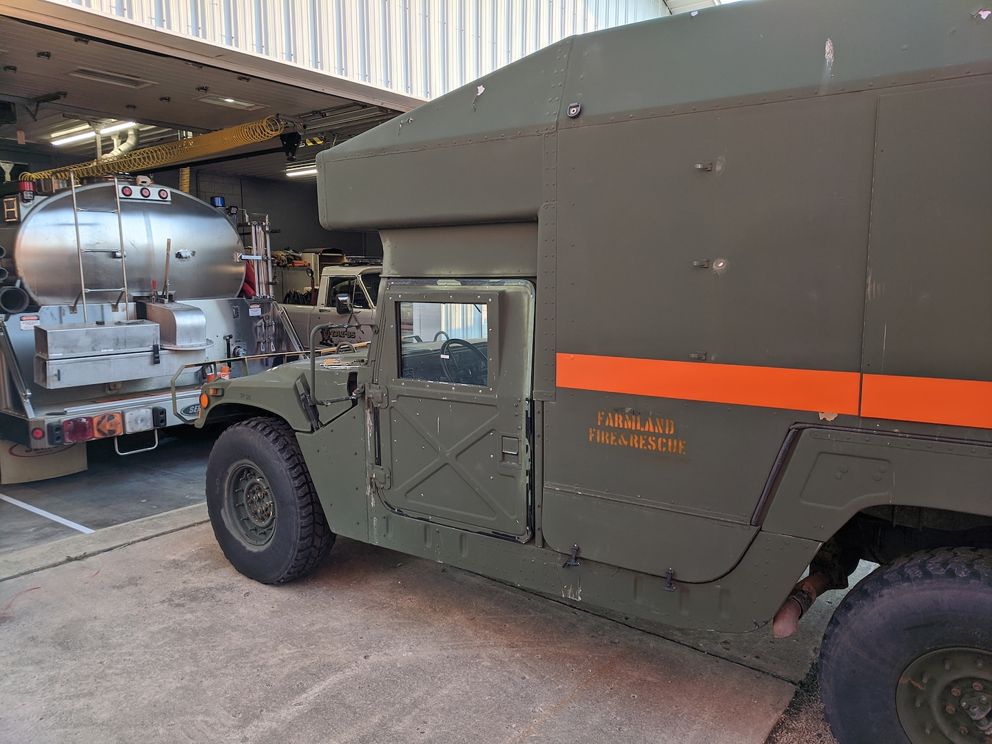 A Randolph County, Indiana, former military Humvee used by the rural fire department there. The truck was added to the county's emergency ambulance roster for transporting COVID-19 patients.
