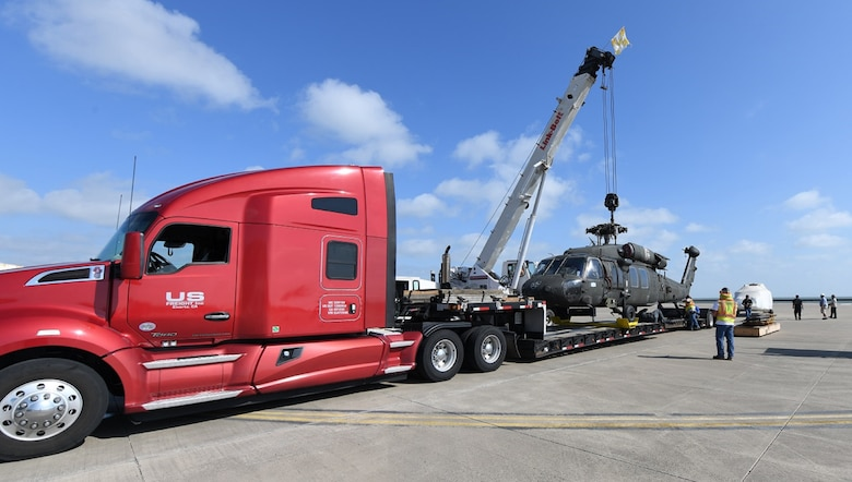 A UH-60L fuselage and operational helicopter were transported from Corpus Christi Army Depot to Wichita State University where researchers at the National Institute of Aviation Research (NIAR) will create a virtual model of the work horse of Army aviation.