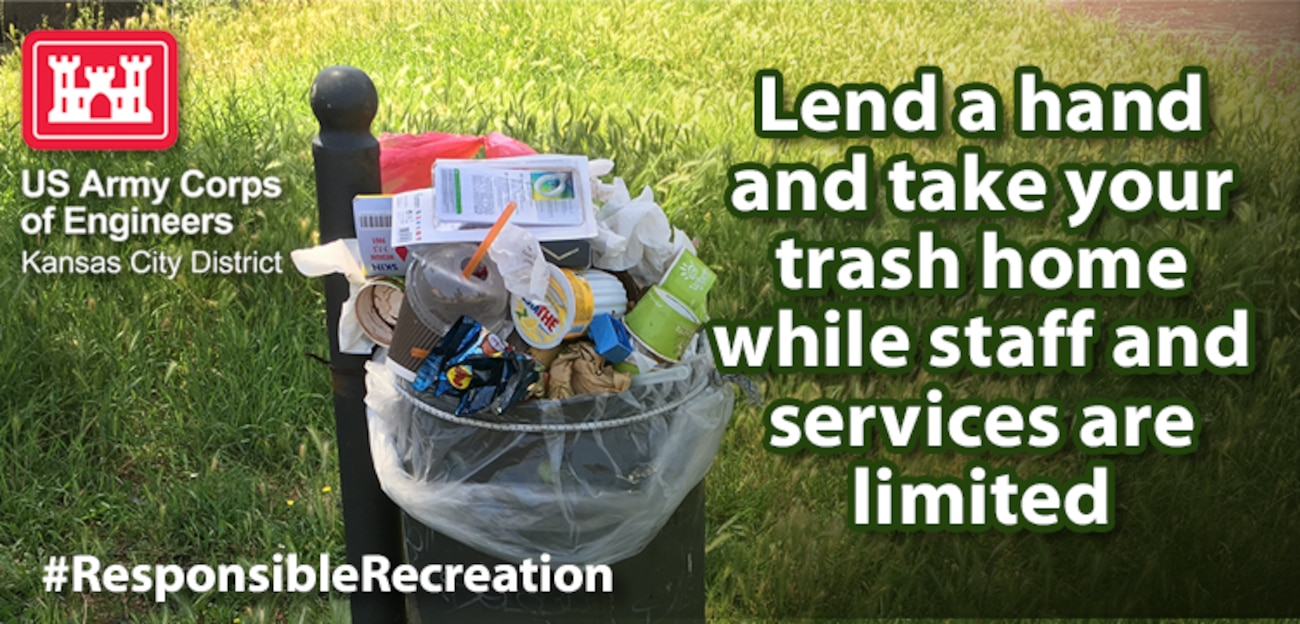 With limited staff and services likely in many parks and protected areas, trash and recycling receptacles may not be emptied as often as normal or at all. This can result in trash overflowing from receptacles which becomes litter and can harm wildlife. Instead, pack your trash and recyclables out with you all the way home and utilize your own receptacles.