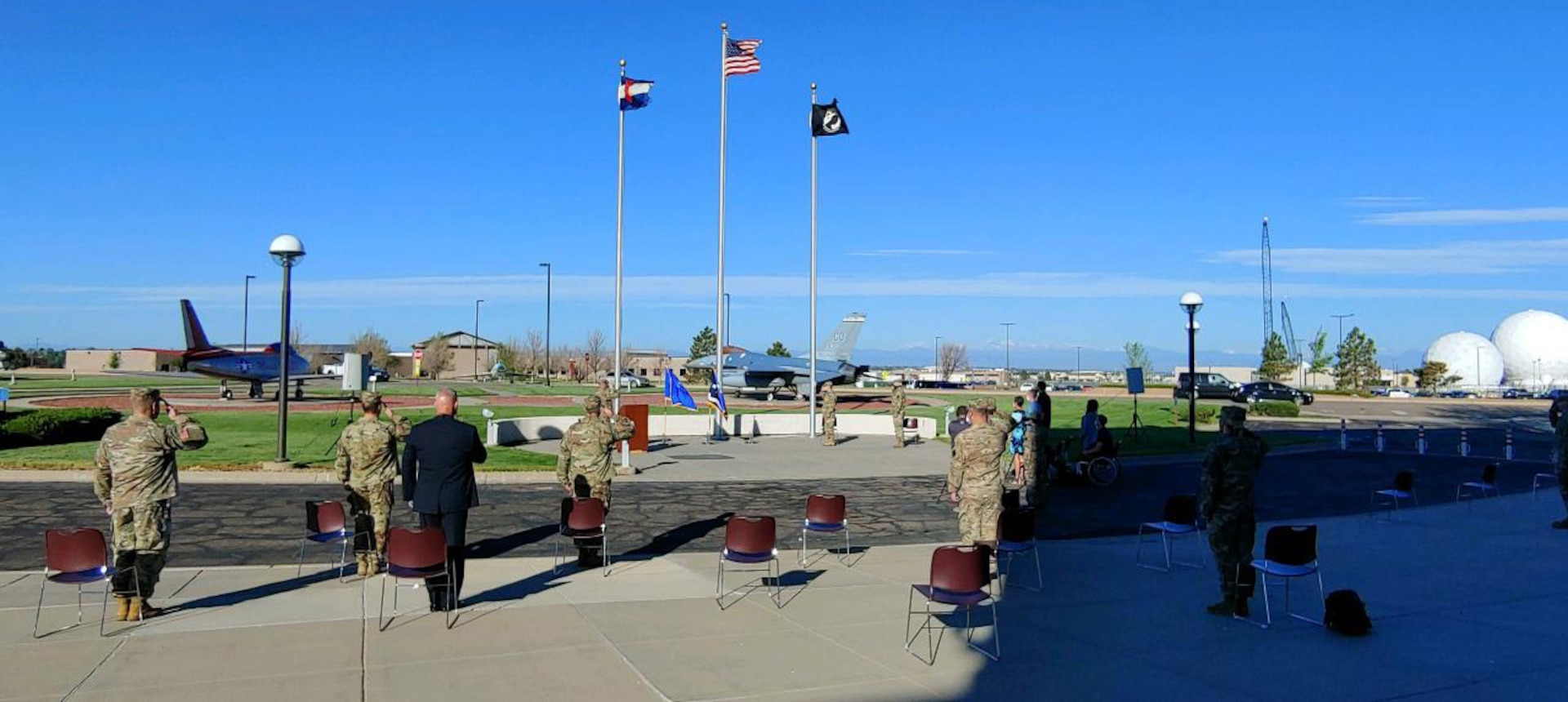 U.S. Air Force Gen. Joseph L. Lengyel, chief, National Guard Bureau, promotes U.S. Air Force Brig. Gen. Gregory T. White, director of space operations, National Guard Bureau, to major general May 20, 2020, at Buckley Air Force Base, Aurora, Colorado.