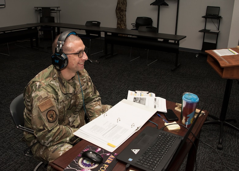 A photo of an ALS instructor on a virtual teleconference