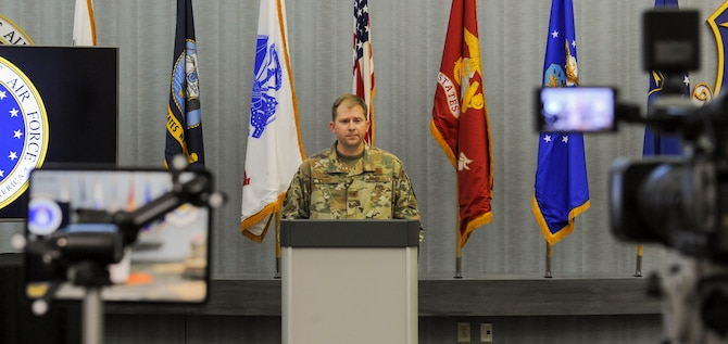 Col. Parker Wright, commander, National Air and Space Intelligence Center, bids farewell to the workforce during a ceremony streamed live from the NASIC Forum at Wright-Patterson Air Force Base, Ohio, May 8, 2020. Wright took command of NASIC in June 2018, having previously served as the commander of the Signals Analysis Squadron here from 2010 to 2012. (U.S. Air Force photo by Senior Airman Samuel Earick)