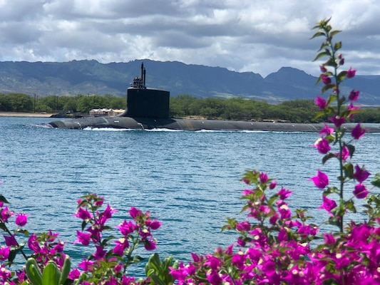 PEARL HARBOR, Hawaii (May 10, 2020) – USS Missouri (SSN 780), a Virginia-class fast-attack submarine, departs Pearl Harbor after completing a scheduled extended dry-docking selected restricted availability (EDSRA). Missouri's routine maintenance and modernization work was completed five days ahead of schedule after successful sea trials and certification. The submarine's recent availability required 2.2 million work-hours to complete more than 20,000 jobs that will ensure the ship remains fully operational for its planned 33-year service life.