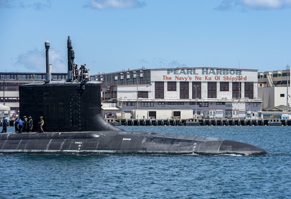 PEARL HARBOR, Hawaii (May 10, 2020) - The Virginia-class fast-attack submarine USS Missouri (SSN 780) departs Pearl Harbor Naval Shipyard after completing a scheduled extended dry-docking selected restricted availability (EDSRA).