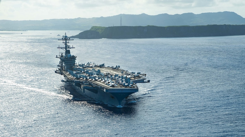 PHILIPPINE SEA (May 21, 2020) The aircraft carrier USS Theodore Roosevelt (CVN 71) operates in the Philippine Sea May 21, 2020, following an extended visit to Guam in the midst of the COVID-19 global pandemic. Theodore Roosevelt is underway conducting carrier qualifications during a deployment to the Indo-Pacific.