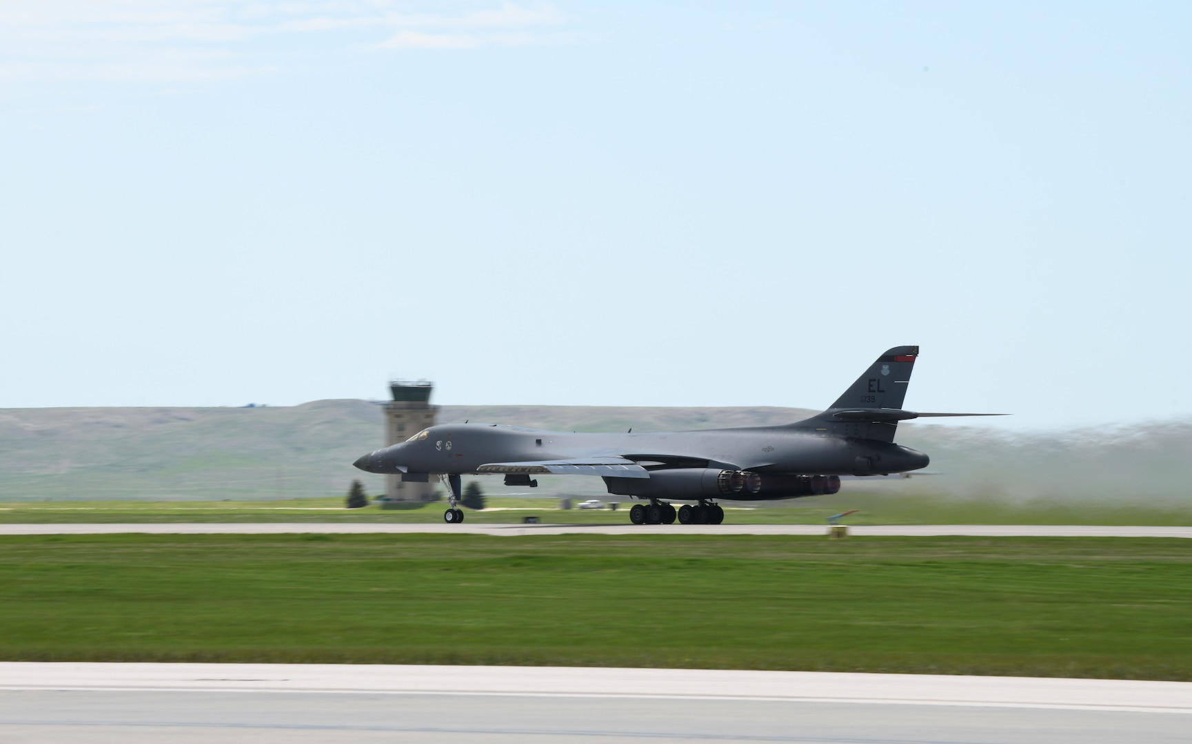 A 34th Bomb Squadron B-1B Lancer takes off from Ellsworth Air Force Base, S.D., May 19, 2020, for a long-range, long-duration Bomber Task Force mission to the U.S. European Command area of responsibility. BTF missions increase aircrew familiarity with operations in different geographic combatant command areas of operations as well as allied-nation interoperability. (U.S. Air Force photo by Airman 1st Class Christina Bennett)
